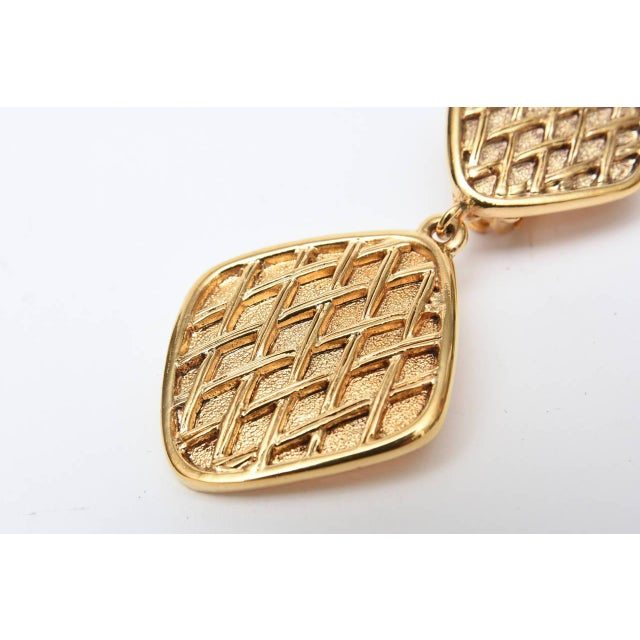 1980s Chanel Marked Double Criss Cross Hanging Clip on Earrings - a Pair For Sale - Image 5 of 9