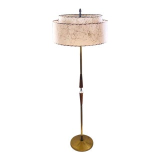 Double Ring Spaghetti Shades Brass and Wood Floor Lamp For Sale
