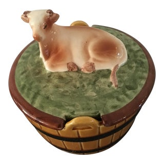 Vintage Majolica Covered Butter Dish