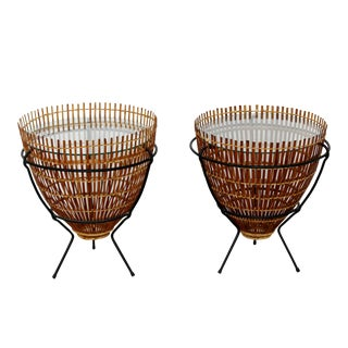 1960s Mid-Century Modern Rattan Iron Glass Side / End Tables - a Pair For Sale
