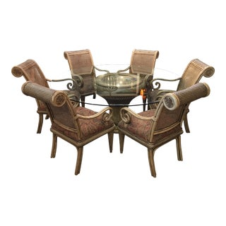 Rattan & Cane Dining Set For Sale