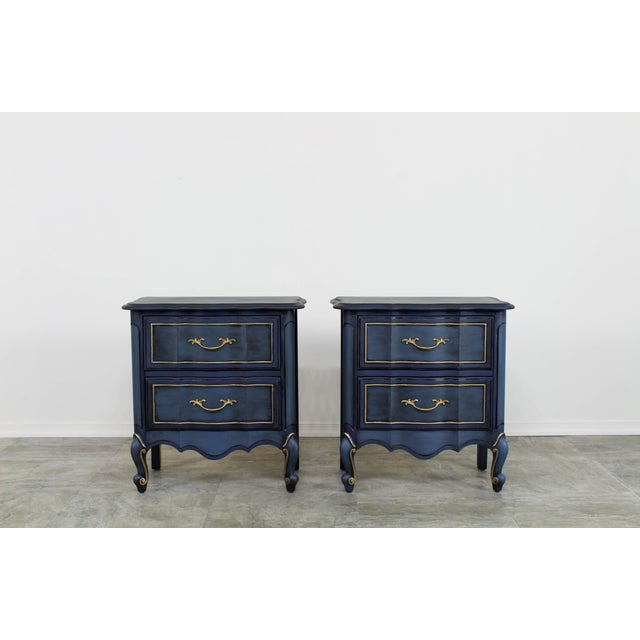 1960s Blue French Provincial Nightstands - a Pair For Sale - Image 9 of 10