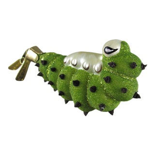 Vintage Blown Glass Caterpillar Inchworm Christmas Ornament With Clip For Sale