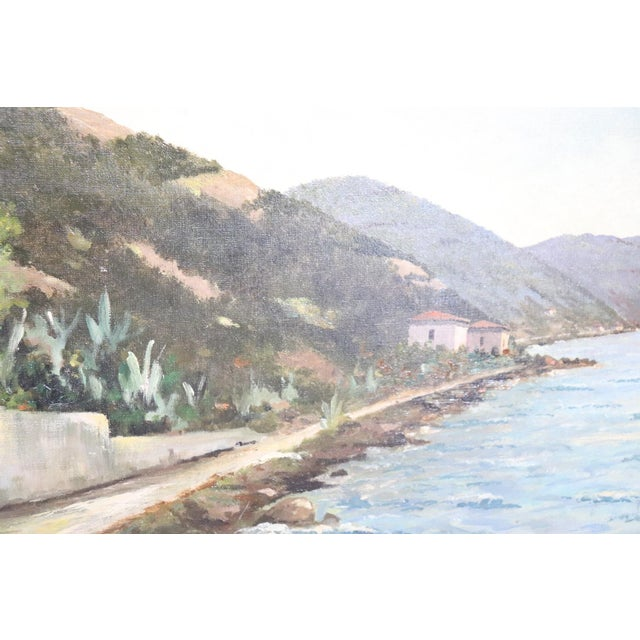 20th Century Oil Painting on Canvas Signed Landscape of the Italian Coast For Sale - Image 6 of 9