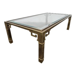 Brass and Glass Mid-Century Modern Coffee Table For Sale