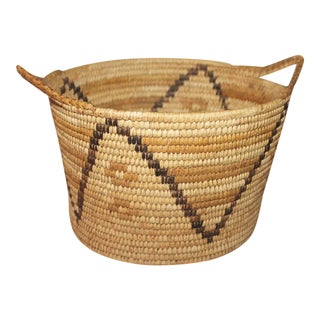 Unusual Double Handled Papago Indian Basket For Sale