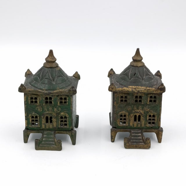 English Traditional Vintage English Victorian Cast Iron Architectural Still Banks C. 1880 - a Pair For Sale - Image 3 of 5