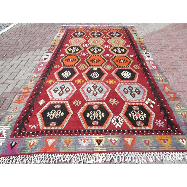 Vintage Turkish Kilim Rug - 6′6″ × 12′5″ - Image 3 of 10