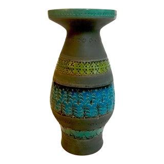 1960s Vintage Aldo Londi Bittossi Rimini Blue & Chartreuse Vase For Sale
