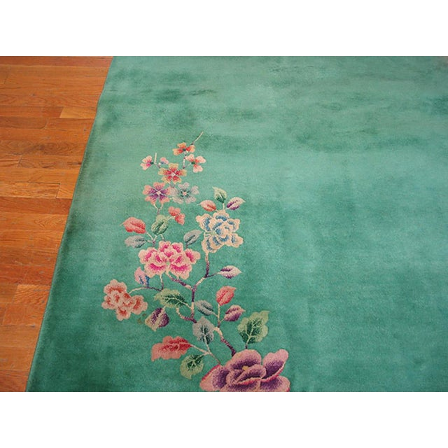 Art Deco 1930s Antique Chinese Art Deco Rug-9′ × 11′6″ For Sale - Image 3 of 5