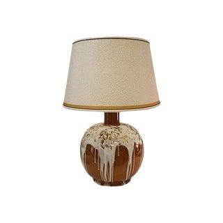 Brown Ceramic White Marshmallow Drip Glaze Lamp For Sale