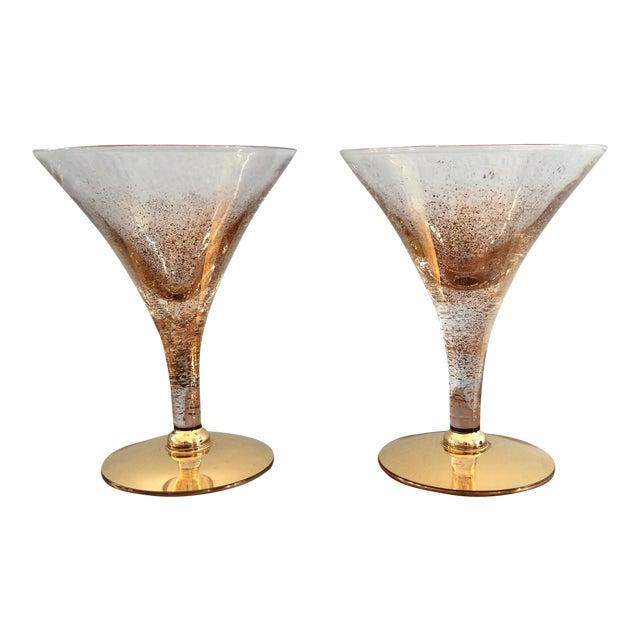 Vintage Gold Speckled Glasses - A Pair For Sale