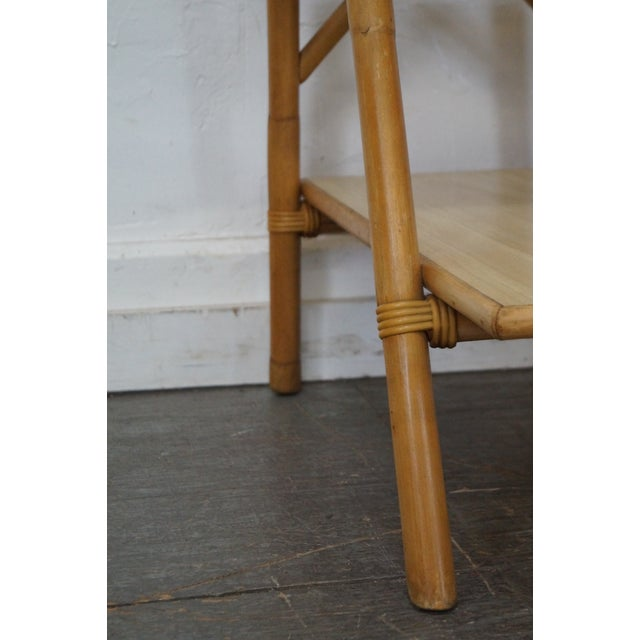 Wood Vintage Vogue Rattan 2 Tier Side Tables - a Pair For Sale - Image 7 of 10