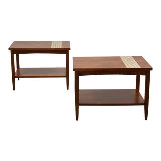 Walnut & Tile End Tables by Lane - a Pair For Sale