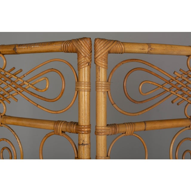 Mid 20th Century Mid Century French Riviera Bamboo and Rattan Screen For Sale - Image 5 of 9
