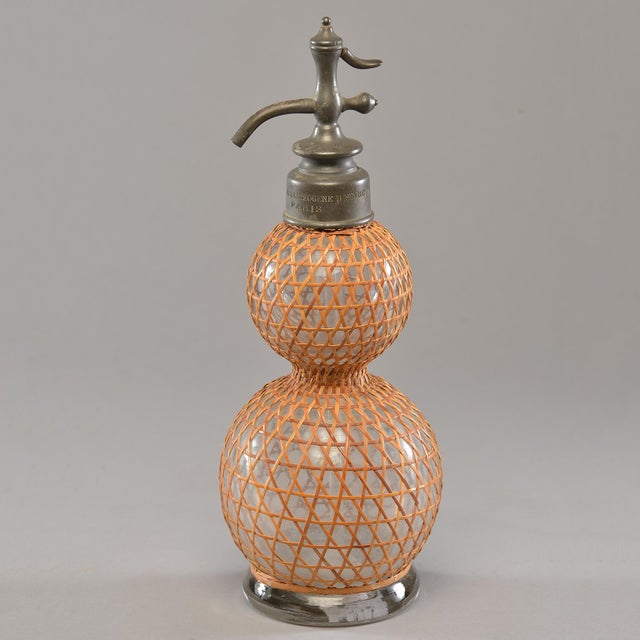 Caning French Rattan Covered Syphon Bottle For Sale - Image 7 of 7