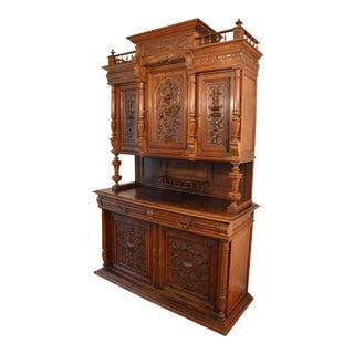 Antique French Walnut Hutch Buffet For Sale