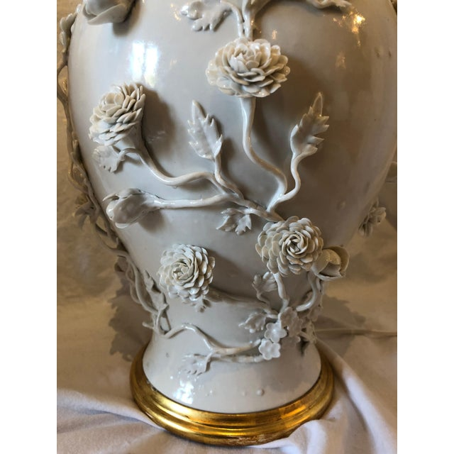 White Pair of Large Chinese Blanc De Chine Porcelain Vase Lamps, Applied Flowers For Sale - Image 8 of 11