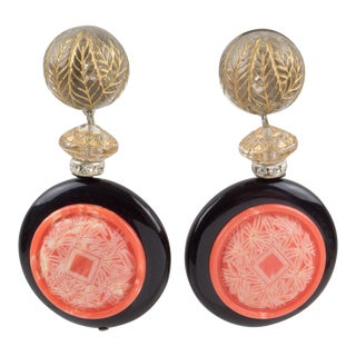 Angela Caputi Dangling Resin Clip on Earrings Coral and Black Asian Inspired For Sale
