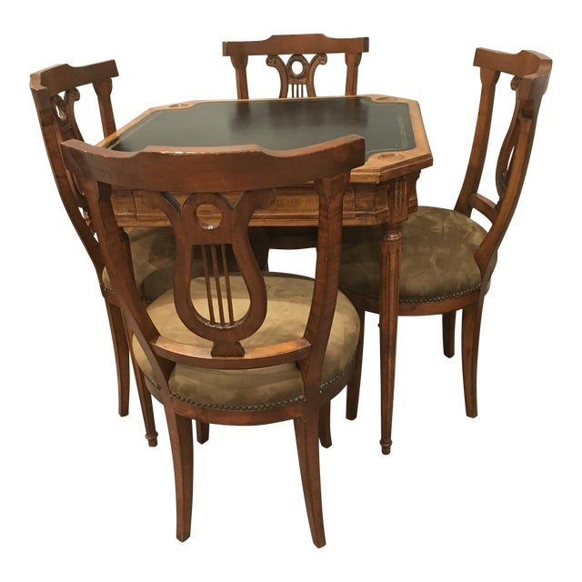 Antique Game Table and Chairs - Set of 5 For Sale