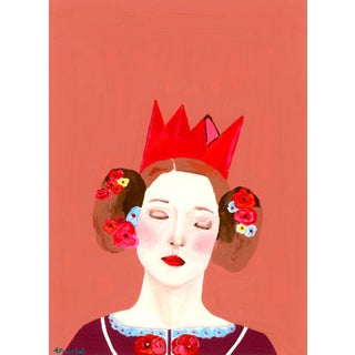 """""""Portrait of Woman Wearing a Torn Paper Crown"""" Contemporary Gouache Painting by Alexandra Swistak For Sale"""