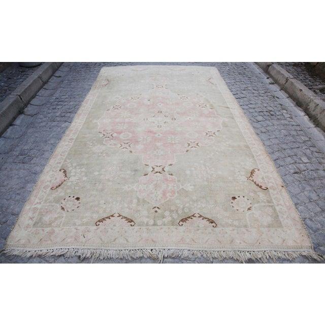 "Vintage Muted Turkish Oriental Rug Carpet - 10'11"" x 6'7"" - Image 2 of 10"
