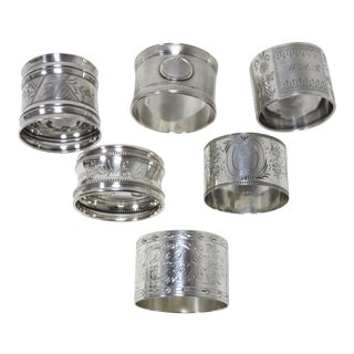 Antique Sterling Silver Napkin Rings - Set of 6 For Sale