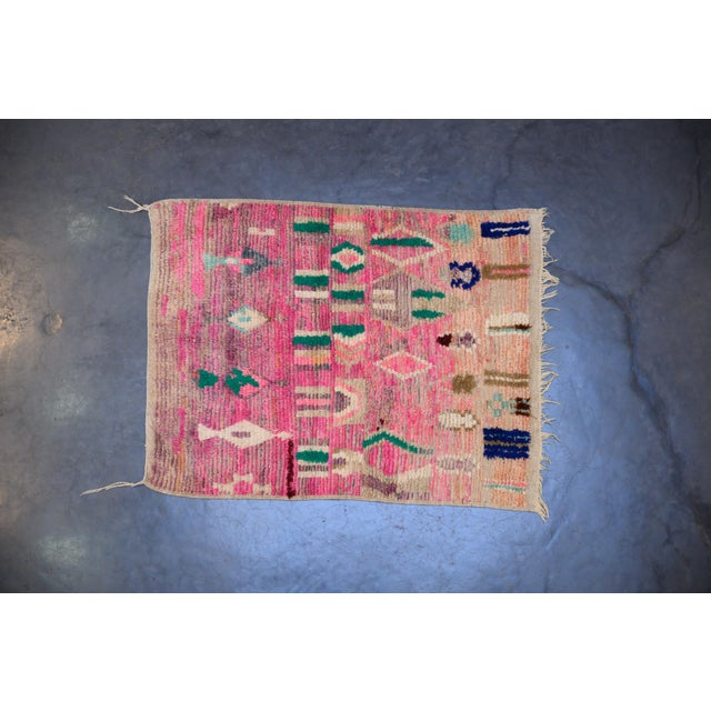Boho Chic Moroccan Boho Chic Hand Made Pure Wool Pink and Green Rug - 4' x 5' For Sale - Image 3 of 3