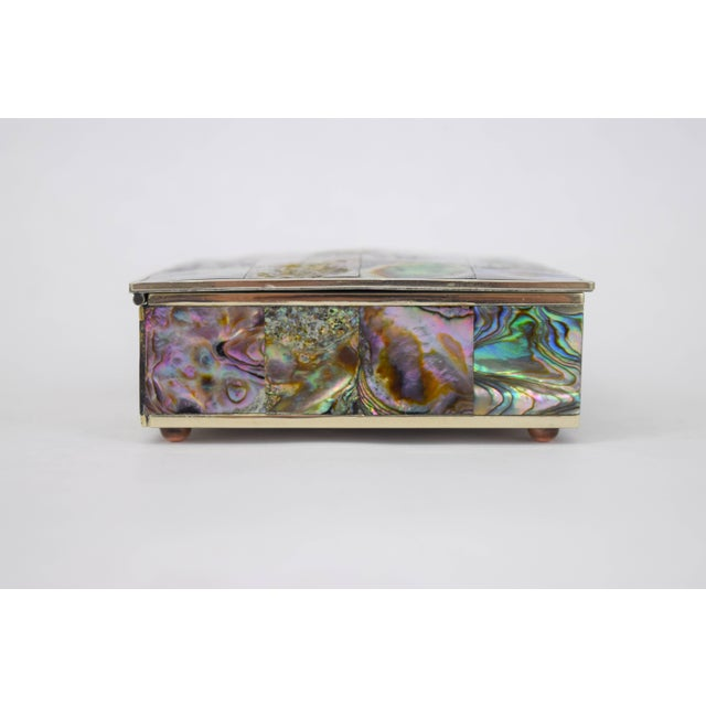 1960s Abalone and Silver Plate Box by Alpaca of Mexico For Sale - Image 5 of 10