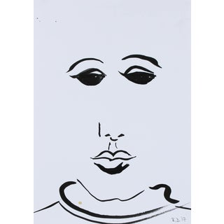 "2017 Ink on Paper Minimalist Portrait ""Faces of the Musee d'Orsay Vii"" by Rob Delamater"