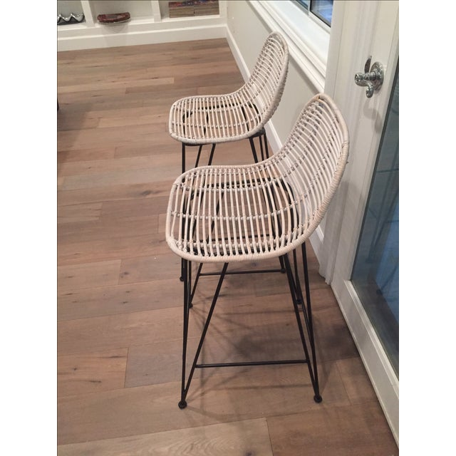 Rattan & Iron Barstools - A Pair - Image 5 of 6