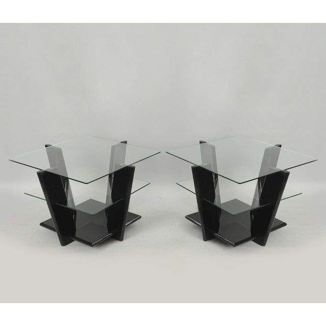Pair of Contemporary Modern Black Lacquer & Glass 3 Tier End Tables Sculptural For Sale - Image 11 of 11