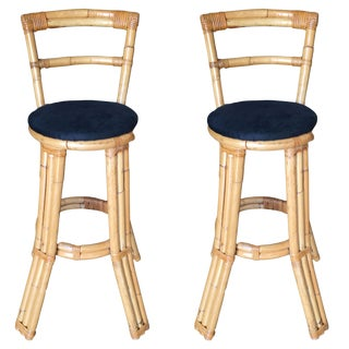 Restored Three Strand Rattan Bar Stool W/ Pole Rattan Back, Pair For Sale