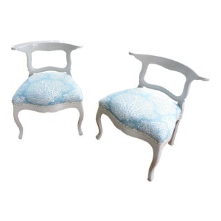 Classy Curves Blue and White Coral Print Accent Chairs - Pair