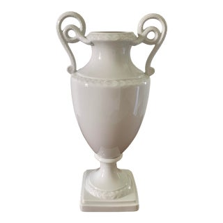Vintage White Porcelain Vase With Twin Serpent Handles For Sale