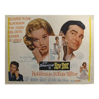 """1963 Original American Movie Poster - """"Sunday in New York"""" (With French Title) For Sale"""