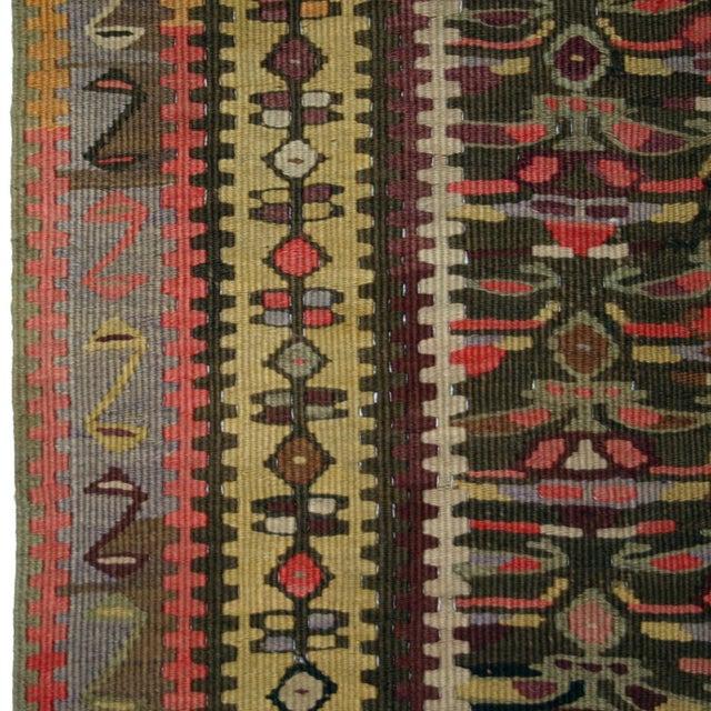 """Antique Senneh Kilim Rug - 3'7"""" 10'4"""" - Image 4 of 5"""