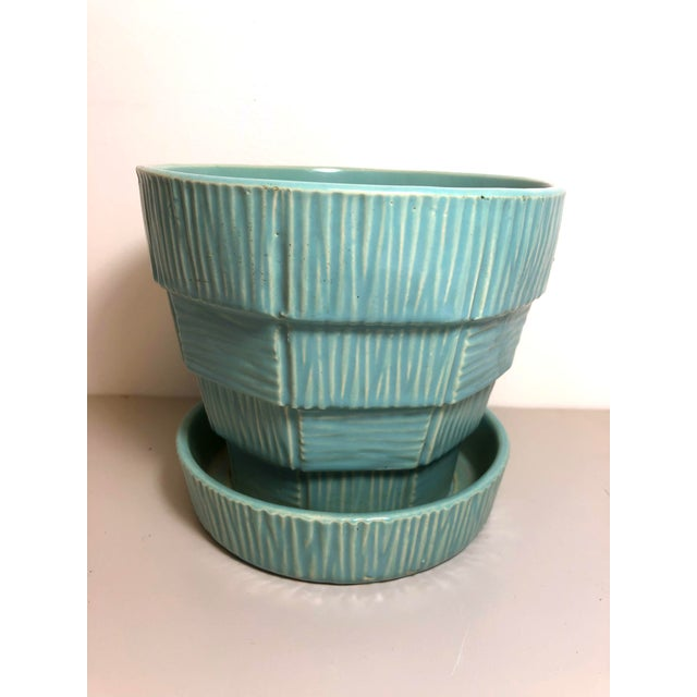 """McCoy Pottery 1940s - 1960s Large """"Teal Blue"""" Mid-Century Flowerpot and Saucer For Sale In Los Angeles - Image 6 of 6"""
