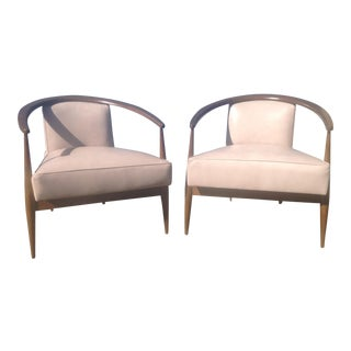 Mid Century Style Lounge Chairs in Leather For Sale