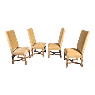 Set of 4 Tall Back French Louis XVI Style Painted and Gilded Dining Chairs For Sale