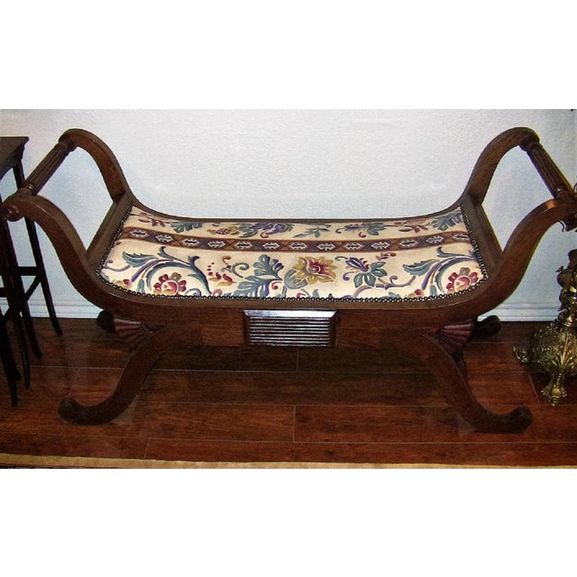 Empire Style Bedroom Scroll End Bench Seats- A Pair For Sale - Image 11 of 13