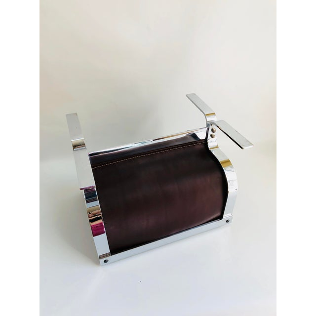Mid-Century Modern Danny Alessandro Chrome & Leather Log Holder or Magazine Rack For Sale In Boston - Image 6 of 11