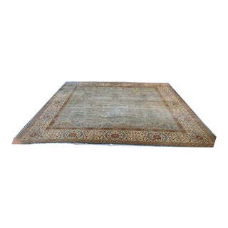 Antique Green Indian Amritsar Rug For Sale