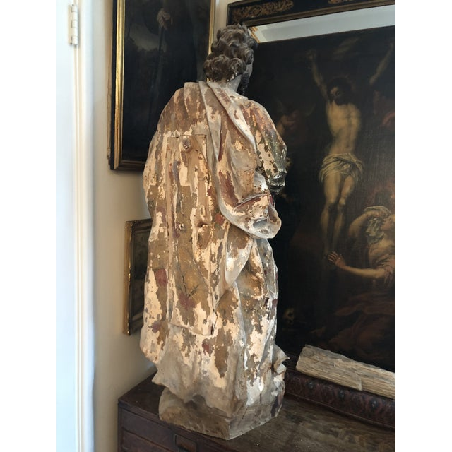 Figurative 17th Century Continental Carved Wood Gesso Polychrome Apostle Sculpture For Sale - Image 3 of 13
