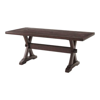 Country Antiqued Wood Refectory Dining Table For Sale