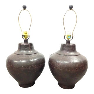 Southwestern Copper Finish Table Lamps - A Pair