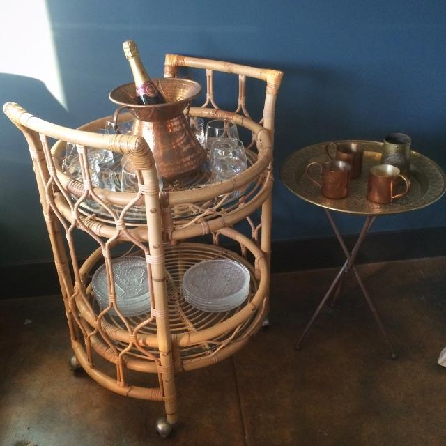 Vintage Round Bamboo & Glass Bar Cart - Image 5 of 8