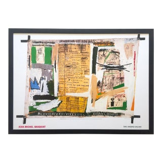 """Jean Michel Basquiat Estate Rare Vintage 1999 Collector's Iconic Lithograph Print Framed Tony Shafrazi Gallery Poster """" Jawbone of an Ass """" 1982 For Sale"""