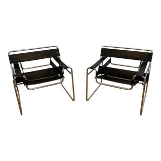 1980s Vintage Modern Marcel Breuer Wassily Chairs- A Pair For Sale