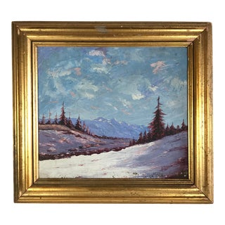 1930s Vintage H. Thomson Snowy Mountain at Sunset Winter Landscape Painting For Sale